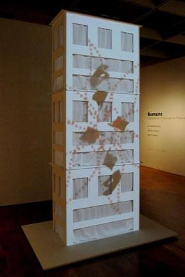 Stacked #2 plywood, milk paint, cotton voile, video projection *Video by Chele Isaac